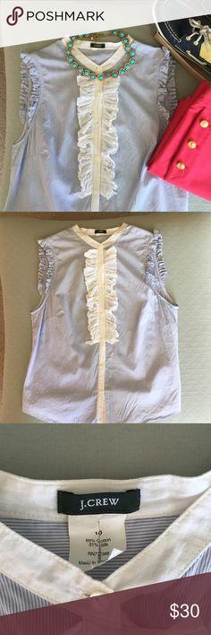 J Crew Sleeveless Ruffled Button Up Blue & White fine pinstripe button up shirt, 69%cotton 31%silk, delicate ruffles on sleeves, white ruffles on front, SUPER soft. EXCELLENT condition. J. Crew Tops Button Down Shirts