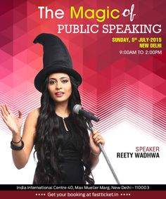 Ever felt nervous while facing an audience? Feel confident and experience '@The Magic of Public Speaking', New Delhi, live workshop by Reety Wadhwa on 5th July. Reserve your seat: http://fastticket.in/event/the-magic-of-public-speaking