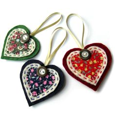 3x Christmas Heart Decorations - Tree Decoration-Could do with other shapes too