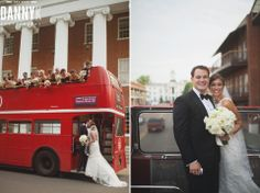 Mississippi Wedding Photography in front of Lyceum at Ole Miss on Double Decker Bus
