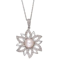 60% Off was $790, now is $319! Sterling Silver Necklace, Cultured Freshwater Pearl and Diamond (1/4 ct. t.w.) 2-Layer Flower Pendant