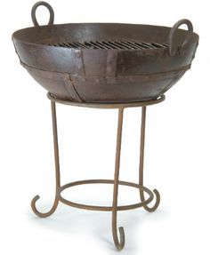 Buy Garden Trading Kadai BBQ/Fire Pit With Stand online with Houseology Price Promise. Full Garden Trading collection with UK & International shipping. Outdoor Fire, Outdoor Dining, Outdoor Rugs, Outdoor Furniture, Fire Pit Stand, Fire Pits, Fire Pit And Barbecue, Bbq Grates, Wedding Gift Inspiration