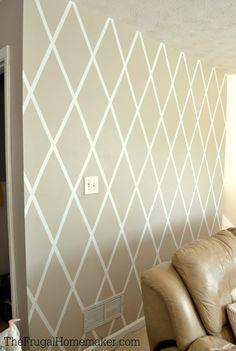 décoration murale diy idée pas cher salon bande adhésive canapé