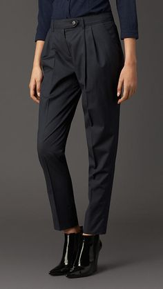 Burberry London Lightweight Wool Silk Tapered Trousers