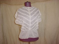 Vtg Sheer Blouse sz Medium Ivory White with Ruffles and Rhinestone Buttons #Handmade
