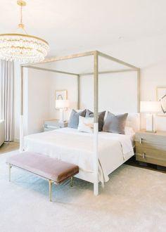 Jennifer Welch Designs modern canopy bed four poster bed velvet pillows