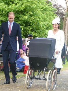 Rebecca English on Twitter: Christening of Princess Charlotte of Cambridge, July 5, 2015-the Duke and Duchess of Cambridge arrive with Prince William and Princess Charlotte (in the pram) at St. Mary Magdalene's Church