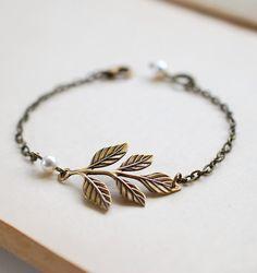 Antiqued Brass Leaf Branch Bracelet. Leaf and Cream by LeChaim, $16.50
