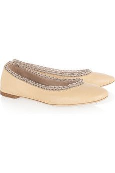 Chloé  Crochet and bead-trimmed leather ballet flats
