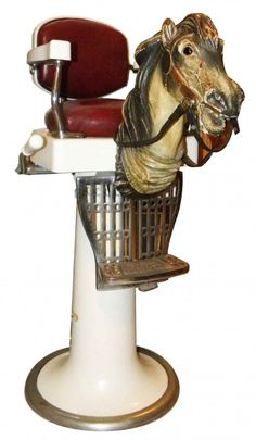 Koken Childs Barber Chair with Carved Horse Head