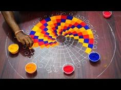 """Drawings Easy Easy Rangoli Checks Design Simple steps for beginners and to the experts -~-~~-~~~-~~-~- Please watch: """"Padi kolam Design"""