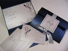 Wedding, Blue, Invitations, Silver, Crystals, Peacock, Ribbon, Formal