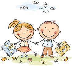 Illustration of Kids with schoolbags, no gradients vector art, clipart and stock vectors. Art Drawings For Kids, Doodle Drawings, Drawing For Kids, Easy Drawings, Art For Kids, School Cartoon, Colorful Rangoli Designs, School Clipart, School Bags For Kids