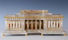 MOTHER OF PEARL ARCHITECTURAL MODEL OF Äußeres Burgtor - Vienna, Austria - Vienna, circa 1825 - Dim: length: 40.5 cm, height: 17 cm, depth: 19 cm - Mother of Pearl Veneered Housing, Gilt Metal Fittings, Watercolor Painting on Pearl Plate.