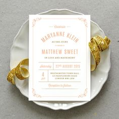 Printable Wedding Invitation PDF / 'Vintage Apothecary' Minimal Elegant Invite / Peach Gold / Digital File Only / Printing Also Available by PennyBlackPost on Etsy https://www.etsy.com/listing/209135295/printable-wedding-invitation-pdf-vintage