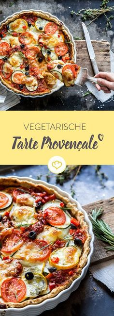 Vegetarian Tarte provençale A mild summer night, a sip of wine . - Vegetarian tart provençale A mild summer night, a sip of wine – and this delicious tarte - Vegetarian Tart, Vegetarian Recipes, Healthy Recipes, Yummy Recipes, Quiches, Go Veggie, Tasty, Yummy Food, Grilling Recipes