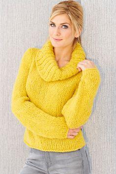 Knitted women's cowl neck jumper in chunky saffron yarn