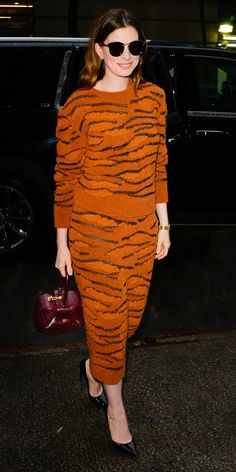 Anne Hathaway rocked a tiger print look by Stella McCartney. Check out that gorgeous Gabriela Hearst handbag she's carrying. Anne Hathaway Style, Jenna Dewan, Devil Wears Prada, Tiger Print, Celebs, Celebrities, American Actress, Stella Mccartney, Celebrity Style