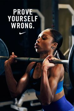 """If you tell me I can& do something, I want to prove you wrong."" — Olympic Sprinter Allyson Felix. Start learning with the NTC Accelerator workout, inspired by her training, in the Nike+ Training Club App. Sport Motivation, Motivation Sportive, Fitness Motivation Quotes, Weight Loss Motivation, Fitness Goals, Health Fitness, Health Exercise, Exercise Quotes, Nike Fitness Quotes"