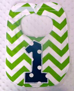 First Birthday Bib with Matching Bow Tie - Baby Boy Birthday Bib Lime Green Navy Chevron Polka Dots