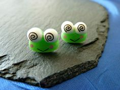 99p Handmade earrings green frog Keroppi frog by KelwayCraftsYorkshir