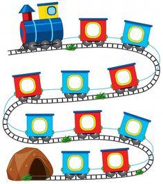 A train game template Royalty Free Vector Image Kids Learning Activities, Preschool Worksheets, Toddler Activities, Preschool Activities, Orla Infantil, School Frame, Kindergarten Math, Kids Education, Classroom Decor