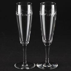 2 Vintage Sektgläser Antik Glas Facetten Schliff Ätz Dekor ~ 1920 R6U