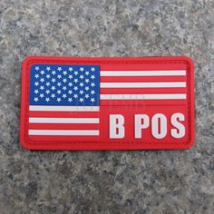 red background color design  American flag Blood Type B POS Military Tactical Morale 3D PVC patch Badges PB333 Red border #Affiliate