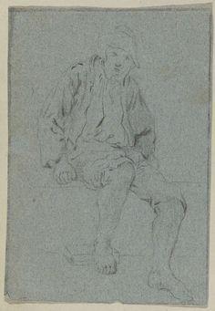 unknown | Zittende man met blote voeten, unknown, 1600 - 1699 |