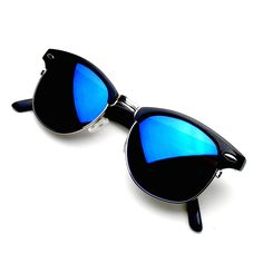 804d2ced2a Retro Fashion Half Frame Flash Mirror Semi Rimless Horned Rim Sunglasses