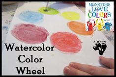 Watercolor Color Wheel - Inspired from Monsters Love Colors book. Using watercolor PENCILS! Less mess :)