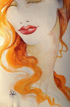 Red Hair Girl  ORIGINAL Watercolor   Fashion by SofiaMinkova, $80.00