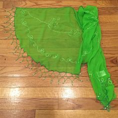 😎hello summer😎 embellished embroidered scarf.🌷 Gorgeous beaded and embroidered green sheer scarf. Pareos etc. Accessories Scarves & Wraps