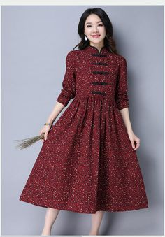 Folk Style Women Long Sleeve Frog Buttons Printed Swing Dress - New Styles For Long Dresses Frock For Women, Casual Dresses For Women, Clothes For Women, Cheap Dresses, Sexy Dresses, Floral Dresses, Folk Fashion, Mode Hijab, Retro Dress