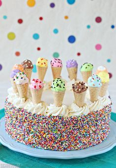 Ice Cream Sundae Cake | From SugarHero.com #kids #birthday #parties