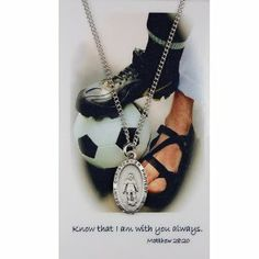 Girls Soccer Medal Prayer Card Catholic Sports Pendant Charm Christian McVan. $12.99. On 18 in chain. lead free pewter. If you would prefer an 18 inch leather cord please email us