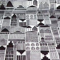 DRAWTOWN, fekete-fehér rajzolt házak mintás pamutvászon Abstract, Artwork, Summary, Work Of Art, Auguste Rodin Artwork, Artworks, Illustrators