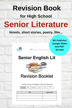 Revision Booklet for Senior English Literature - Templates to Complete