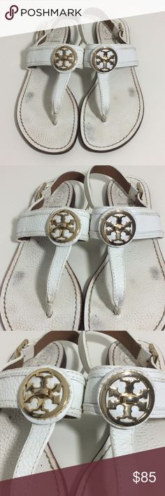 Tory Burch Sandals White Tory Burch sandals in good used condition. Refer to pictures for wear. A Tory Burch shoe box will be included. ***no trades*** Tory Burch Shoes Sandals