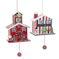 Peppermint Twist Set of 2 Cuckoo Clock House Ornaments found at