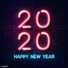 Neon bright happy new year 2020 social ads template sign