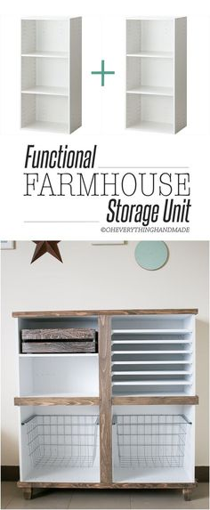 Check out these 13 farmhouse hacks! Get the fixer upper look without the cost! LOVE these easy farmhouse decor ideas! Diy Furniture Projects, Wood Furniture, Home Projects, Furniture Storage, Diy Storage Unit, Storage Hacks, Paper Storage, Storage Room, Storage Solutions