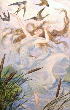 """""""THE WIND AND THE SWALLOWS"""" Illustration by Frank Cheyne Pape"""