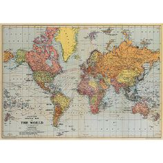 World Map circa 1930. Ready for framing. $4.99