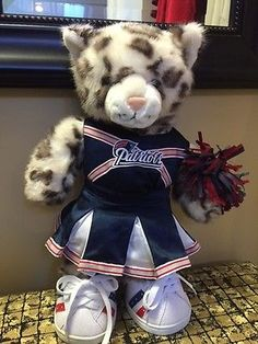 "SNOW LEOPARD Teddy Cat BUILD A BEAR 16"" NE Patriots Cheerleader Football NWT"