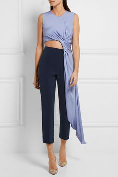 Lavender, navy and pink crepe Concealed hook and zip fastening at back  42% viscose, 32% polyester, 24% silk, 2% elastane; lining: 54% acetate, 42% silk, 4% polyester Dry clean  Made in England