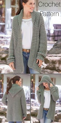 The perfect weekend casual hoodie sweater cardigan crochet pattern. I love the simplicity of this style. Crochet Cardigan Pattern, Knit Crochet, Homeade Gifts, Knitting Patterns, Crochet Patterns, Diy Clothing, Sweater Hoodie, Crocheting, Knitwear