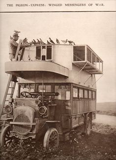 Pigeon truck WW1.... one job that has definitely gone away.... that would be pigeon carrier driver for communications during a World War.....