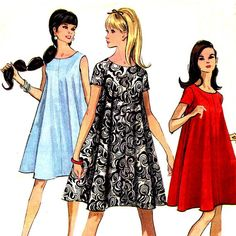 This vintage mod sewing pattern makes a widely flared trapeze or tent shaped dress with a scoop neckline and optional short sleeves. Dress has