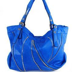 Amazon.com: New Arrival Fashion Unique Zipper Line Embellishment and Buckle Handle Solid Hobo Tote Satchel Handbag Purse in Blue: Clothing $48.99